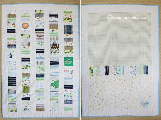 Paul's baby clothes quilt - quilting projects on Permanent Riot