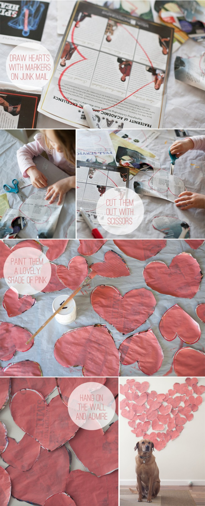 Ridiculously easy DIY valentine's day decor - repurpose junk mail into art - Permanent Riot