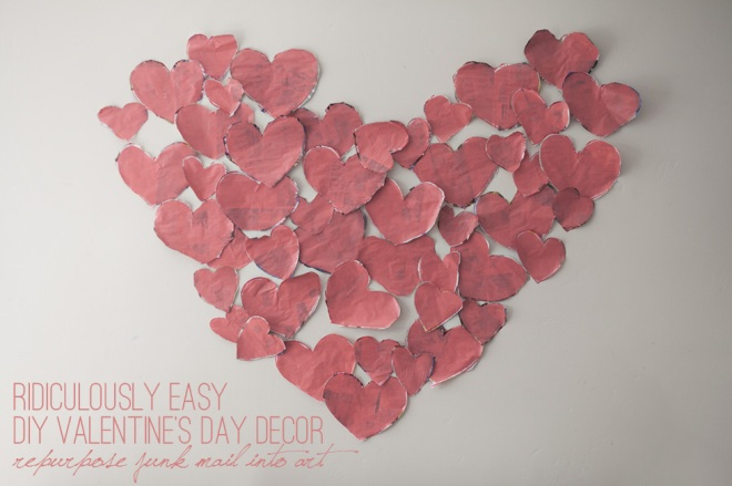 ridiculously easy diy valentines day decor repurpose junk mail into art permanent riot - Valentines Day Decor