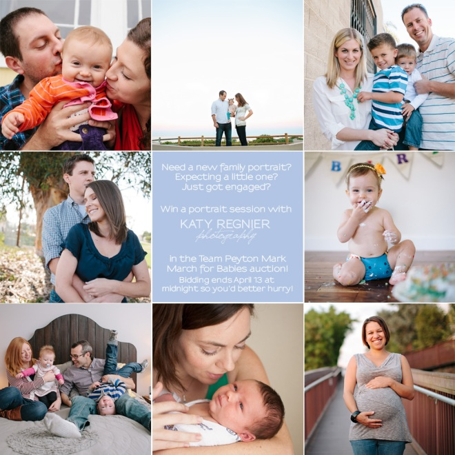 Win a portrait session from Katy Regnier photography in the Team Peyton Mark March for Babies auction