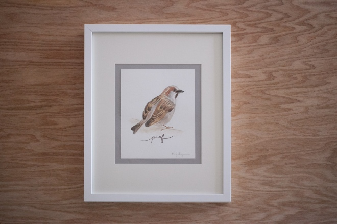 "Original watercolor painting - ""piaf"" sparrow by Katy Regnier - Permanent Riot on etsy"