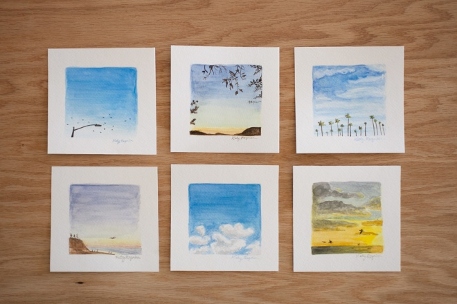 Instagram inspired sky watercolor paintings by Katy Regnier - Permanent Riot