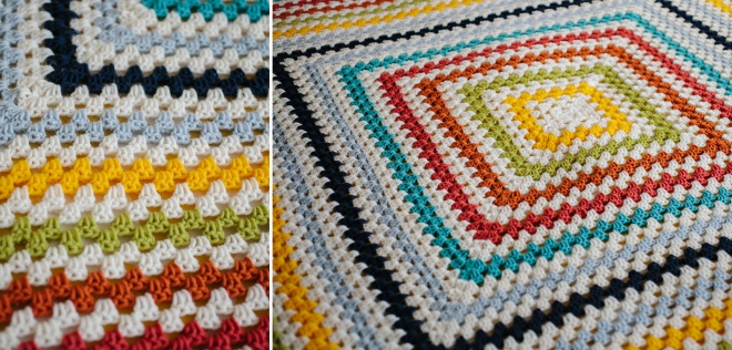 Purl Soho inspired crochet giant granny square blanket - Permanent Riot blog