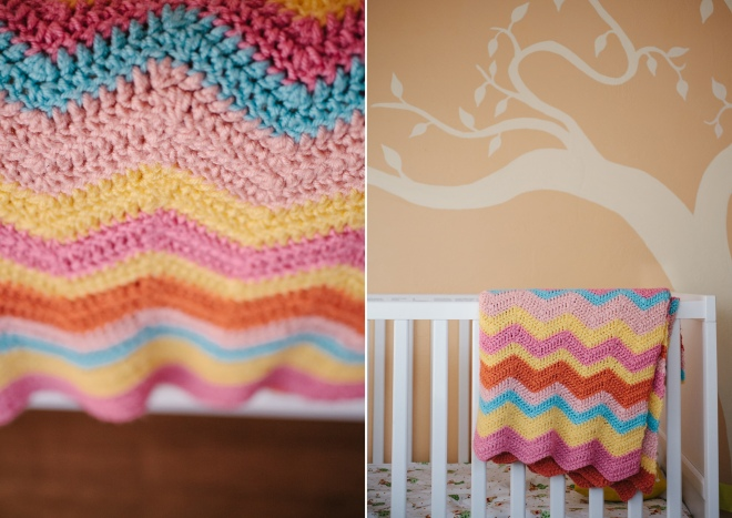 Crocheted chevron baby blanket on the Permanent Riot blog