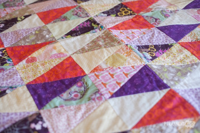 Equilateral triangle baby quilt by Katy Regnier on Permanent Riot