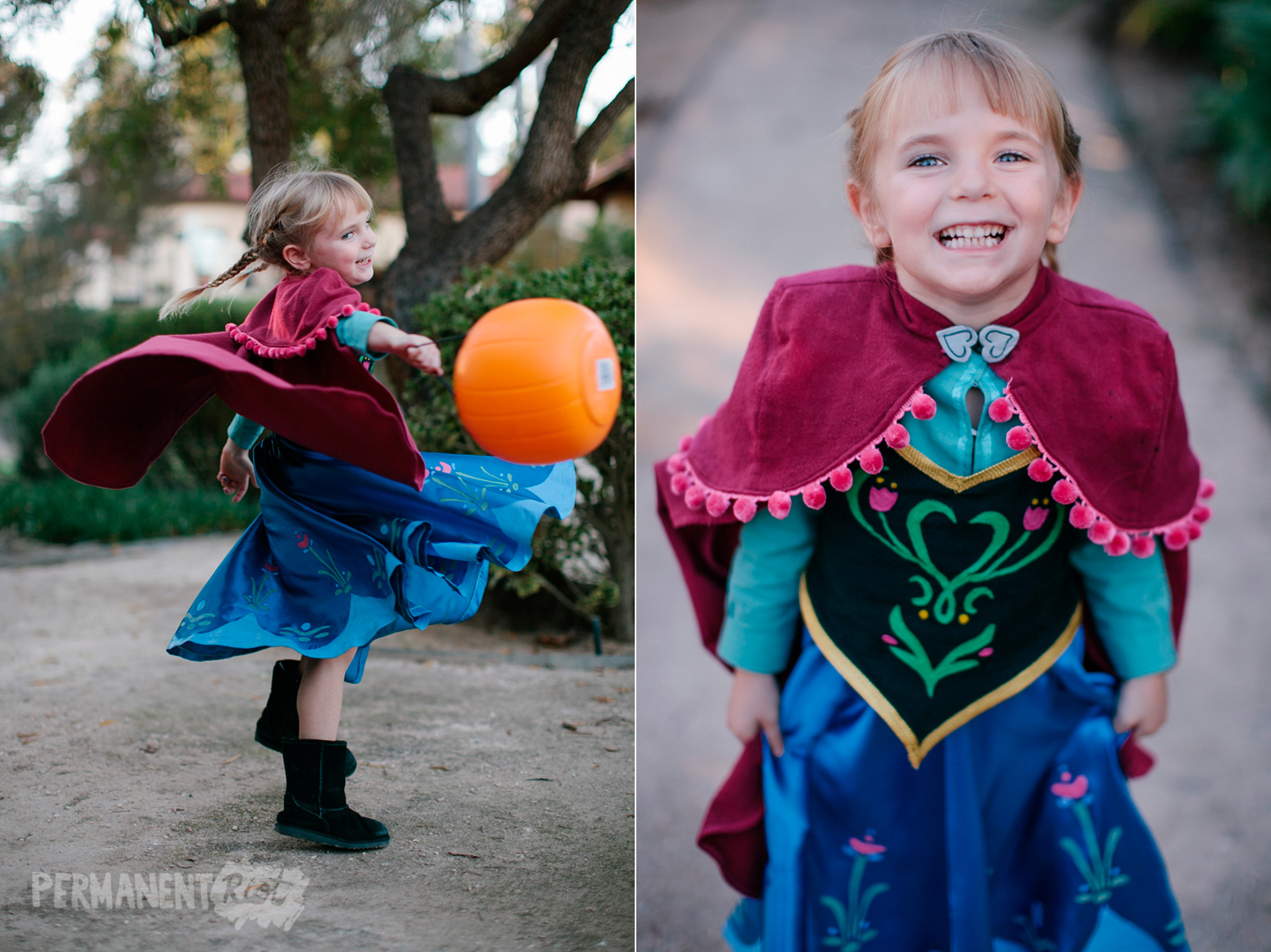 Anna Frozen girls halloween costume ...  sc 1 st  Permanent Riot & Frozen family halloween costumes u2013 Anna Elsa u0026 Kristoff u2013 Permanent ...